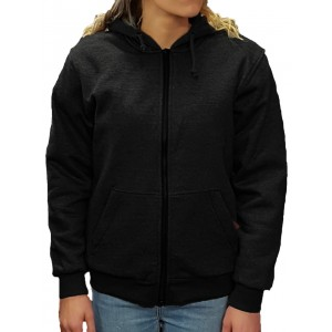 The CrossFire Womens Black Motorcycle Hoodie Aramid Protection Removable CE 1621-1 armour - Busa by Bikers Gear
