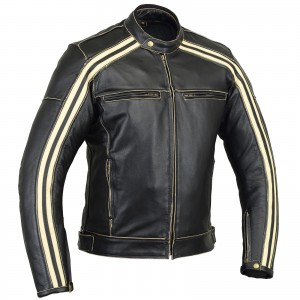 The Bonnie' Motorcycle Cafe Racer CE1621-1 PU Armour Bovine Cowhide Leather Jacket - Ivory Stripe - Busa by Bikers Gear