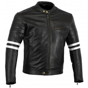 Bikers Gear The Rocker Motorcycle Black Leather Cafe Racer Jacket CE1621-1 PU Armour, White