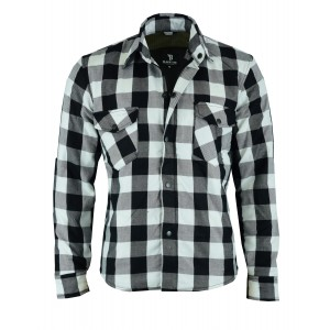 The Rubbie Motorcycle Black-White Lumberjack Shirt Protective Aramid Fiber & CE Armour - Busa by Bikers Gear