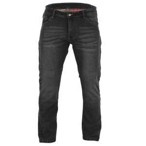BUSA Black Tab Stretch Slim Fit BLACK Aramid protection lined Motorcycle Jeans Knee & Hip Armour