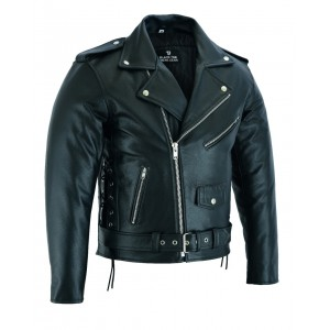 The Patrol Motorcycle Old School CE1621-1 PU Armour Bovine Cowhide Vintage Classic Leather Jacket -  Busa by Bikers Gear