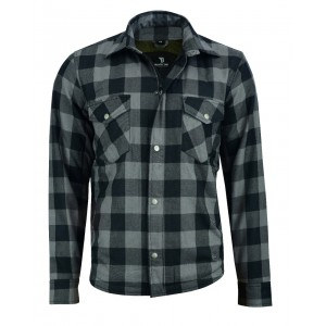 The Rubbie Motorcycle Grey & Black Lumberjack Shirt Fully Made with DuPont Kevlar & CE Armour - Busa by Bikers Gear