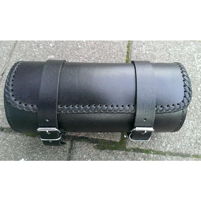 Motorcycle Tool Bag >> Bikers Gear Black Tab Pu Waterproof Leather Motorcycle Tool Roll Sissy Bar Braided Bag