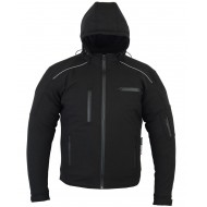The Apex Motorcycle Waterproof Windproof Breathable 5 point CE-1621-1 Armour Soft Shell Black hoodie Jacket