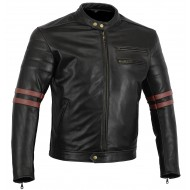 Black Tab The Rocker Motorcycle Black Leather Cafe Racer Jacket CE1621-1 PU Armour, OxBlood