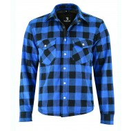 The Rubbie Motorcycle BLUE Lumberjack Shirt FULLY Reinforced with Protective Aramid Lining & CE Armour - Busa by Bikers Gear