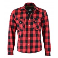 The Rubbie Motorcycle Red Lumberjack Shirt FULLY Reinforced with Protective Aramid Lining & CE Armour - Busa by Bikers Gear