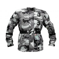 The Platoon Grey Camo Camouflage Waterproof CE Armoured Vented Motorcycle Jacket Busa by Bikers Gear