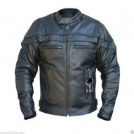 The Sturgis Full Brass Zippers, Removable Armour 1621-1 Leather Motorcycle Cruiser Jacket - Busa by Bikers Gear