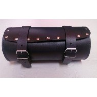 Black Tab PU WATERPROOF LEATHER MOTORCYCLE TOOL ROLL SISSY BAR STUDDED ROUND BAG