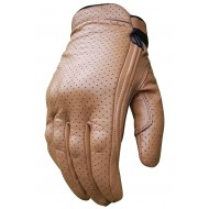 Revolver Tobacco SUMMER Perforated leather Short Cruiser motorcycle Bobber Gloves Busa by Bikers Gear