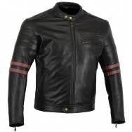 The Rocker Motorcycle Best Oxblood Bovine Leather Cafe Racer Jacket CE1621-1 PU Armour, Busa by Bikers Gear
